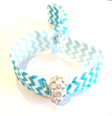 Elastic Bracelet - Blue Chevron with White