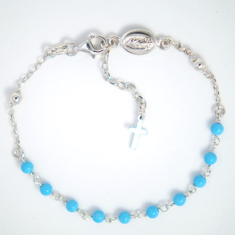 Boys Blue Sterling Silver Bracelet