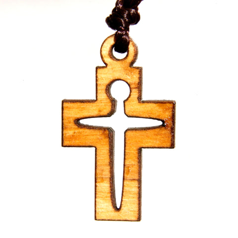Olive Wood Cross Pendant - Modern Cross