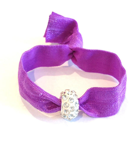 Elastic Bracelet - Purple with White