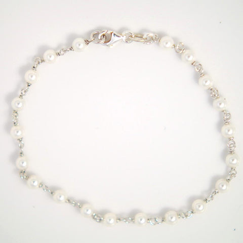 White Enamelled Sterling Silver Bracelet