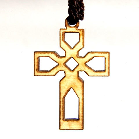 Olive Wood Cross Pendant - Braided Cross