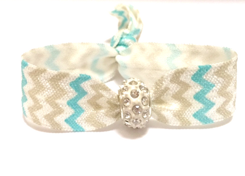 Elastic Bracelet -  Silver and Teal Chevron