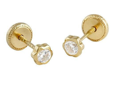 18K gold Screw Back Earrings - 3mm Flower with Zirconia