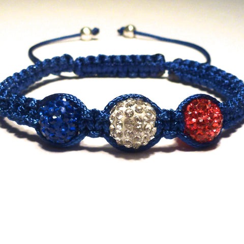 Shamballa Bracelet - Red, White and Blue