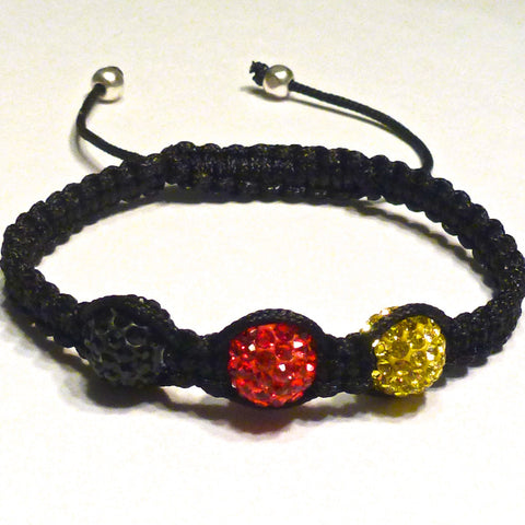 Shamballa Bracelet -Black, Red and Gold