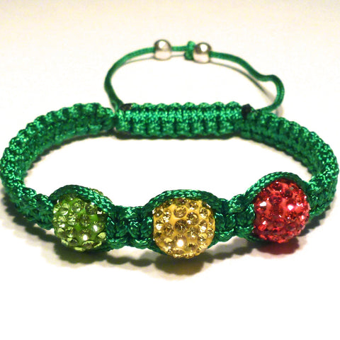 Shamballa Bracelet -Green, Red and Gold