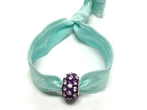 Elastic Bracelet -Green with Purple