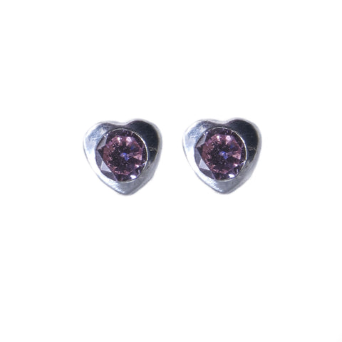 Sterling Silver Screw Back Earrings - Lavender Cubic Heart