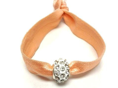 Elastic Bracelet - Peach with White