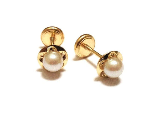 4mm Pearl set in 18K Gold Flower Screw Back Earrings