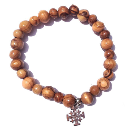 Olive Wood Rosary Bracelet (Jerusalem Cross)