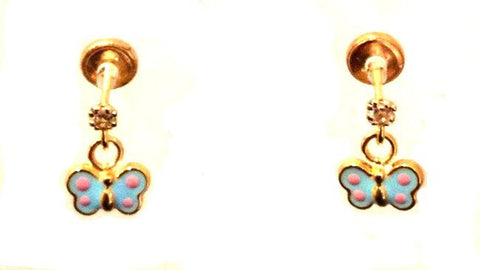Screw Back 18K Gold Earrings - Blue Butterfly Dangle