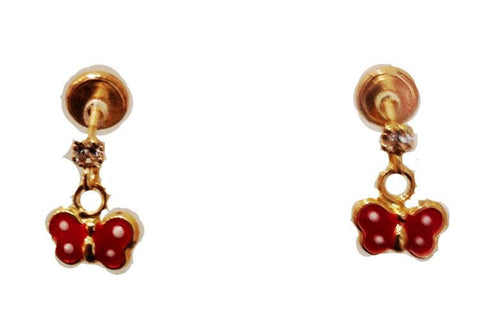 Screw Back 18K Gold Earrings - Red Butterfly Dangle