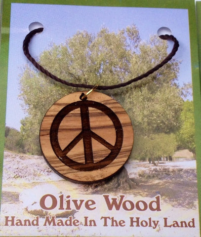 Olive Wood Cross Pendant - Peace Symbol