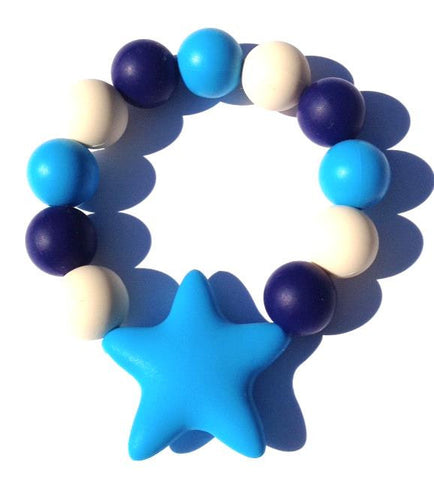 Kiddie Teething Bracelet- Blue Star