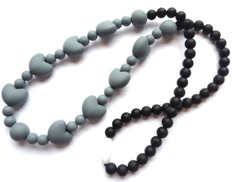 Teething Necklace - Grey and Black