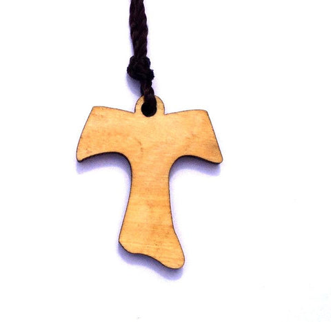 Olive Wood Cross Pendant - St Francis Cross