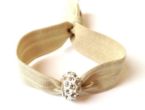 Elastic Bracelet - Beige with White