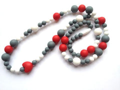 Teething Necklace - Grey, White and Red