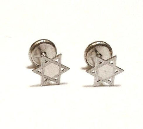 Screw Back - 18K White Gold Star of David
