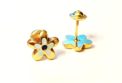 Screw Back 18K Gold Earrings - Blue Colorful Flower