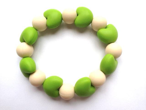 Teething Bracelet Green and Cream Color