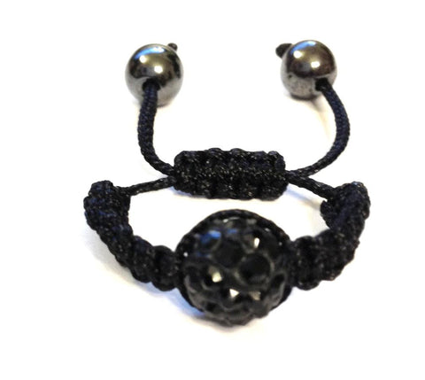 Adjustable Ring - Black with Black Pave Crystal