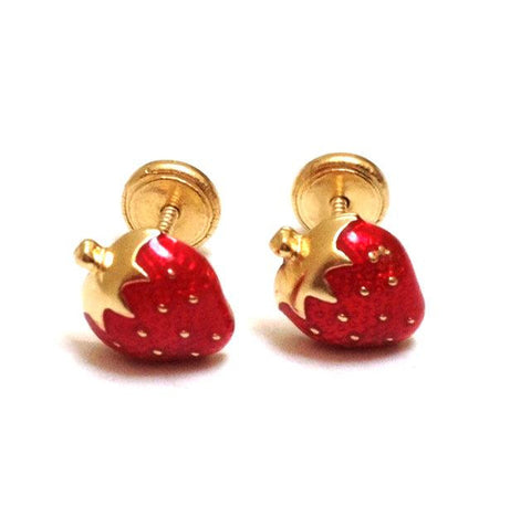 Screw Back 18K Gold Earrings - Strawberries