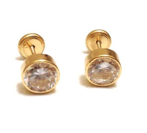 18K Gold Screw Back Earrings - 4mm Round with CZ