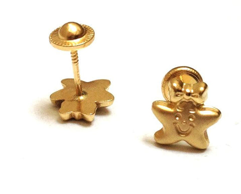 Screw Back 18K Gold Earrings - Happy Stars