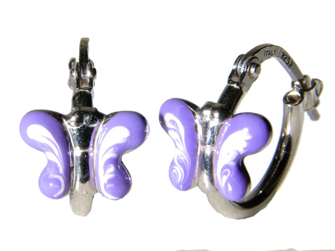 Purple Butterfly Sterling Silver Hoop Earrings