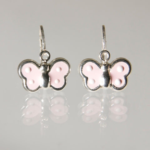 Hoops - Sterling Silver Pink Butterfly