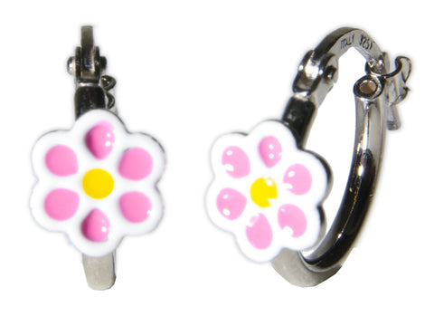Soft Pink Flower Sterling Silver Hoop Earrings
