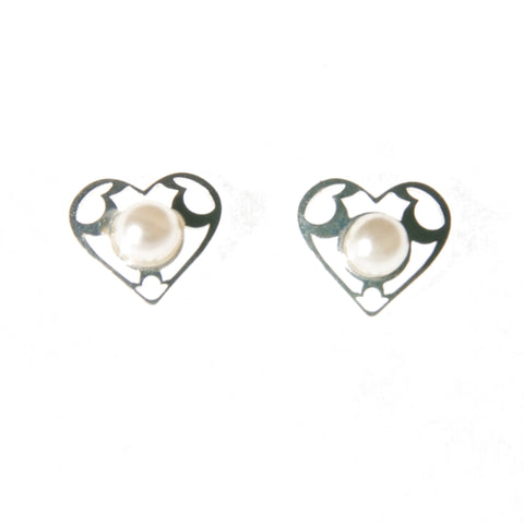 Sterling Silver Screw Back Earrings - Heart with Pearl