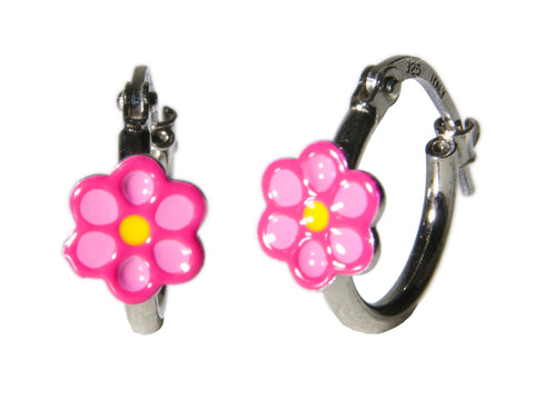 Hot Pink Flower Sterling Silver Hoop Earrings