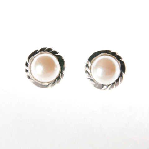 Sterling Silver Screw Back Earrings - Pearl set in silver base