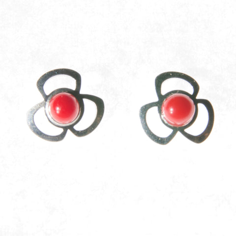 Sterling Silver Screw Back Earrings - Red Stone set in Clover Setting