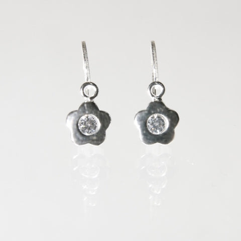 Hoops - Sterling Silver Sparkle Flower