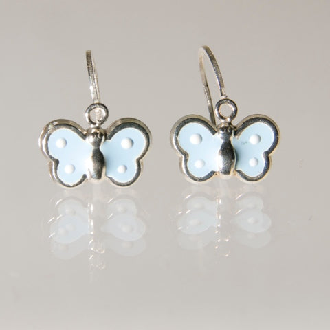 Hoops - Sterling Silver Baby Blue Butterfly