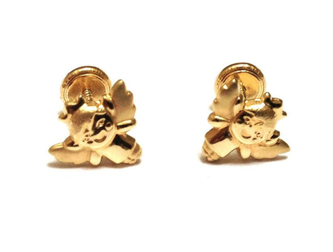 Angel 18K Gold Screw Back Earrings