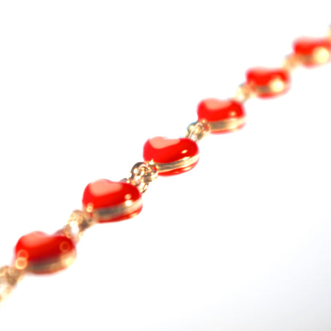 Red Hearts Sterling Silver Bracelet