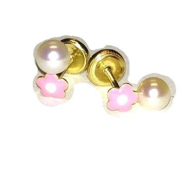 Screw Back 18K Gold Earrings - Pearl semi-dangle
