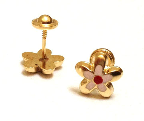 Screw Back 18K Gold Earrings -Pink Colorful Flower