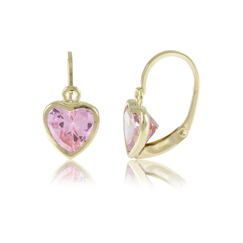 Hoops - 18K GOLD Pink Cubic Heart
