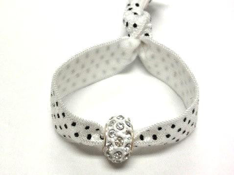 Elastic Bracelet -Polka Dot with White