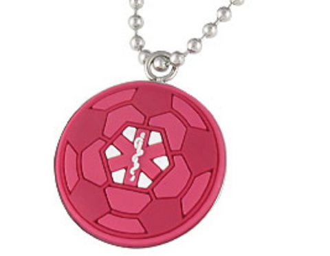 Medical Alert ID -Red Soccer Ball Necklace set