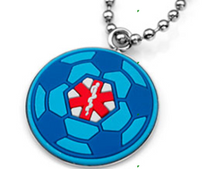 Medical Alert ID -Blue Soccer Ball Necklace set