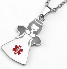 Medical Alert ID - Guardian angel necklace set