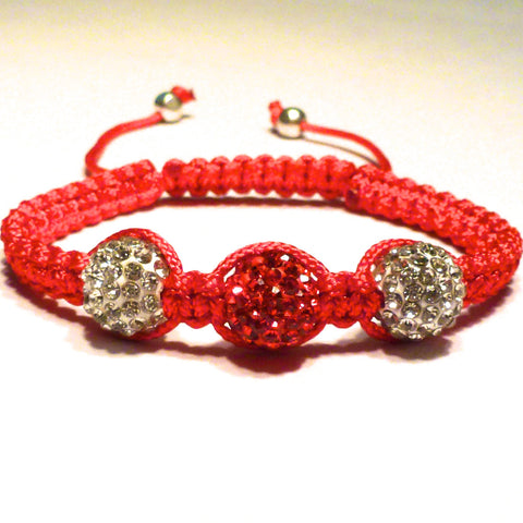 Shamballa Bracelet -Red and White